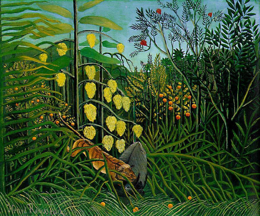 Combat of a Tiger and a Buffalo, 1909 by Henri Rousseau